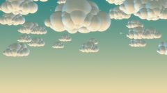 Cartoon flying clouds in the morning sky - stock footage