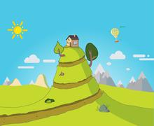 The house is on a big hill Stock Illustration