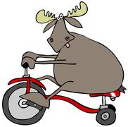 Moose on a tricycle Stock Illustration