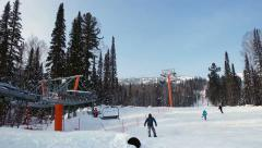 Landing on elevator to the top of the mountain on a ski resort Stock Footage