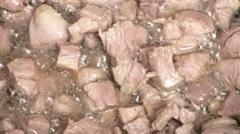 Turkey meat is fried in oil Stock Footage
