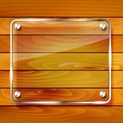 Transparent glass frame on wooden background - stock illustration