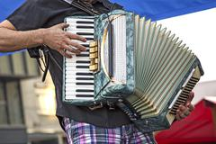 Young accordionist - stock photo