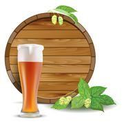 Beer barrel and a pint Stock Illustration
