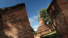 View to the old temples at Wat Mahathat temple in Sukhothai, Thailand. Stock Footage