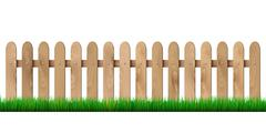 Wooden fence and grass - isolated on white background - stock illustration