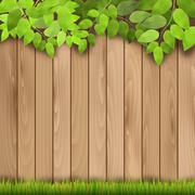 Wooden fence, grass and tree branch - stock illustration