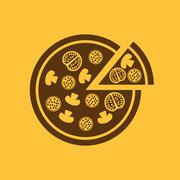 Stock Illustration of The pizza icon. Pizzeria and baking, fast food symbol. Flat