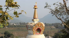 Golden tower of stupa inside the temple Stock Footage