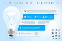 Infographics template with bulb, icons and sample text - stock illustration