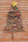 Xmas decorations crafts tree wall felt Stock Photos