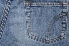 Backside of a blue jeans with trouser pocket Stock Photos