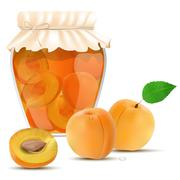 Apricot compote in a jar and fresh apricots - stock illustration