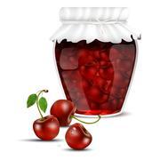 Cherry jam in a jar and fresh cherries Stock Illustration
