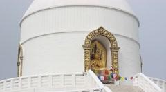 World Peace Pagoda in Pokhara, Nepal Stock Footage