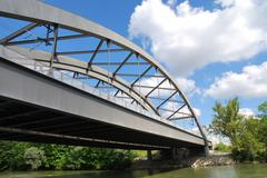 Steel bridge over the river Lech in Augsburg Stock Photos