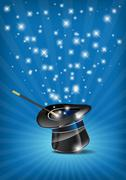 Glossy magic hat and wand in action - stock illustration