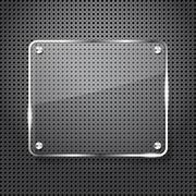 Metal background with glass frame for your text Stock Illustration