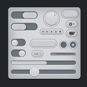 Set of gray ui web elements - sliders, switch, buttons etc. Stock Illustration
