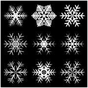 Christmas snowflake, frozen flake silhouette icon, symbol, design. Winter, cr - stock illustration