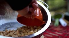 Vegan food chickpea and colander Stock Footage