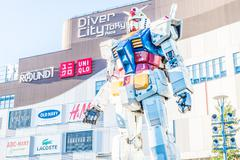 TOKYO, JAPAN - November 27,2015 : Gundam Statue Model Performances Outside Di - stock photo