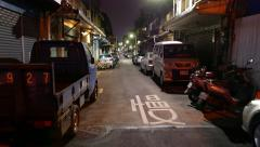 Quiet small street in night, Taipei, downtown, old houses Stock Footage