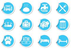 Set of 12 Services and Entertainment icons - stock illustration