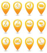 Stock Illustration of Set of 12 MAP pointer sport icons