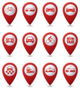 Set of 12 pointers with transport icons - stock illustration