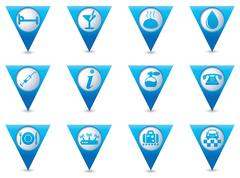 Stock Illustration of Set of 12 Services and Entertainment icons on BLUE triangular map pointer