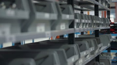 Many different boxes for equipment in the factory Stock Footage