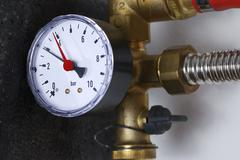 Manometer of a heating system - stock photo