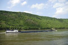 Transport ship on the river Rhine Stock Photos