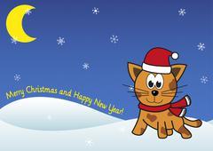 Christmas festive cat on winter snowing background Stock Illustration