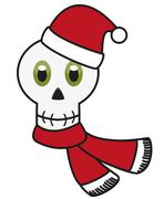 Stock Illustration of Isolated avatar of skull in festive Christmas apparel