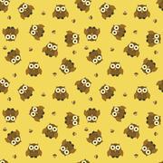 Seamless cartoon owl pattern - stock illustration