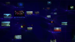 Network connections with multiple themed videos and IP numbers. Blue and green. Stock Footage