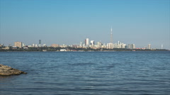 Humber Bay Bridge Toronto Skyline View From West Stock Footage