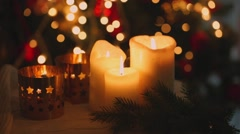 Christmas candles . Flames of fire trembles under the breath of the wind. Christ Stock Footage
