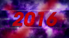 Stock Video Footage of graphical fireworks explosion to 2016 RED-BLUE 4K