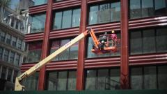 Construction Crane Lift With Workers And Platform Stock Footage