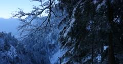 Neuschwanstein Castle at sunrise in winter landscape Stock Footage