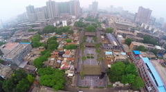 AERIAL Shot of Chinese temple in old city,Xi'an,Shaanxi,China. Stock Footage