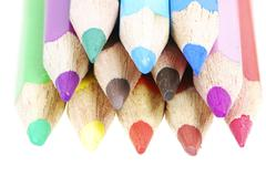 Pile of isolated wooden colored crayons Stock Photos