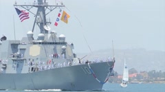USS Gridley (DDG-101) returns to San Diego Stock Footage