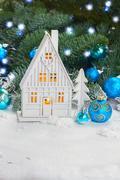Stock Photo of White christmas house