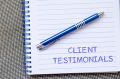 Client testimonials write on notebook Stock Photos