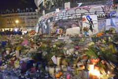 Paris, France - November 18th, 2015: Commemoration against  terrorist attacks - stock photo