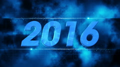 Stock Video Footage of graphical fireworks explosion to 2016 BLUE 4K